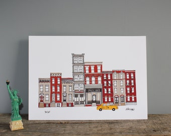New York Skyline Print -  A3 Illustration - New York Cityscape