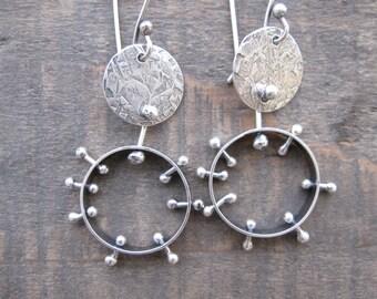 Sterling rings disks earrings