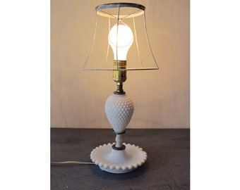 vintage table lamp - hobnail milk glass lamp