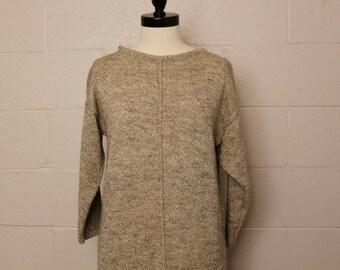 Vintage 1980's Fuzzi Sweater Dress Gray Heather M