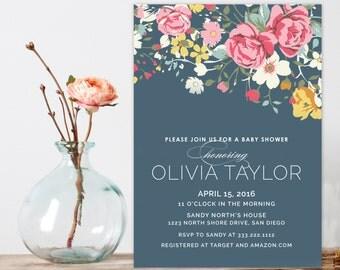 Vintage Floral Baby Shower Invitation, Navy blue shower invitation,  Baby Shower Invitations, Modern Floral Shower invitation, Garden shower