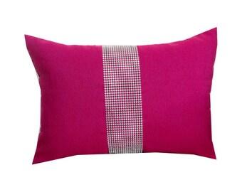 Fuchsia lumbar pillows, Fuchsia Bedrom Pillows, Throw pillows 12x16, gift pillow, Couch Pillows, Designer Pillows