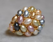 Kenneth Jay Lane Pastel Pearl Cocktail Ring