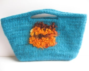 SALE! Blue Wool Felted Clutch