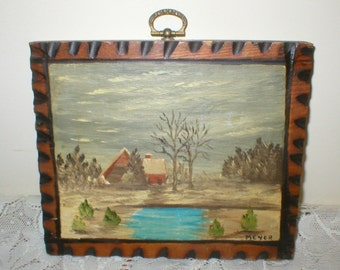 Brown Cabin Painting Snowy Landscape Evergreen Trees Blue Pond 7X6 Vintage Antique Rustic Primitive Folk Art Pyrography Frame