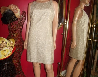 Vintage  Tan Lace  Dress Flapper  does 20-30s  Theme  Tea Party  Size 13/14