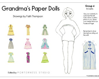 Grandmas Paper Dolls -  1 Doll To Customize And 10 Beautiful Outfits Drawn By Grandma Faith - Group 4 Download Digital PDF