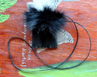 Recycled black deerskin necklace pouch with black rabbit fur flap for crystals, herbs, fetiches, medicine, and other small sacred objects