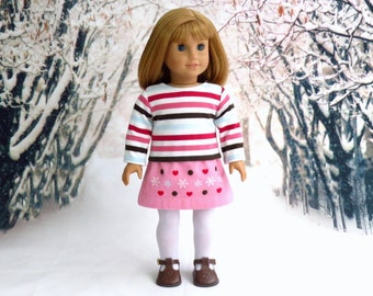 18 inch Doll Clothes Valentine Outfit, Winter Snowflake Corduroy Skirt and Striped Top, reconstructed M2M Gymboree