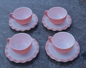 HAZEL ATLAS  Milk Glass Pink ruffled edge Crinoline Pattern Made in USA 1950s set of 4 Cup And Saucer  replacement