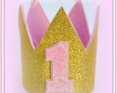 First Birthday Crown, Pink Gold Birthday Crown, Baby Birthday Crown, Baby Crown, Baby Birthday Gift, Baby Christmas Gift, 1st Birthday Hat,