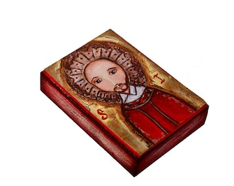 Saint Ignatius - ACEO Giclee print mounted on Wood (2.5 x 3.5 inches) Folk Art  by FLOR LARIOS