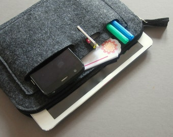 iPad mini Case, Kindle Case, Tablet Cover. Felt zipper bag.