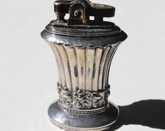 Vintage Silverplate Table Top Lighter Ronson Newport Patent 19023 Made in Newark NJ Fancy Lighter Cigarette Lighter Coffee Table Lighter