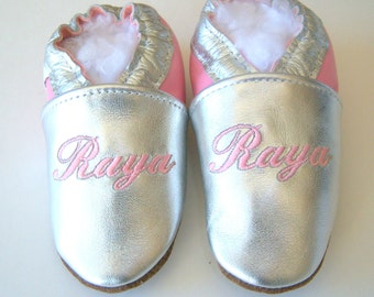 personalized leather baby shoes silver and pink
