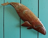 Right Whale - copper marine mammal sculpture  - with red-brown and naturally-aged patinas - OOAK