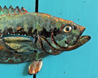 Spotted Bass - copper fish sculpture  - with verdigris blue green patina - OOAK