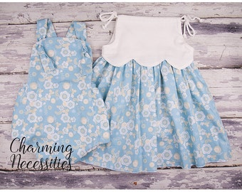 Big Sister Little Sister Outfits, Sibling Outfits , Girls Retro Sundress and Baby Romper Sunsuit in Blue Haze Baby Shower Gift