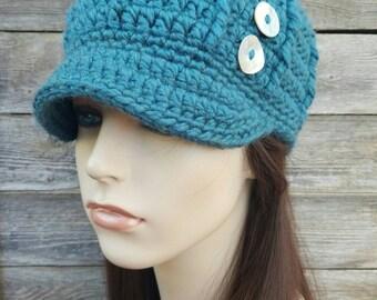 Brimmed Beanie Womens Hat Teens Hat Winter Hat Warm Hat Wool Blend Hat Ski Hat Snowboard Hat Teal Hat Brimmed Hat Button Hat - MADE TO ORDER