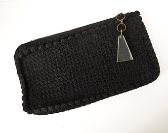 Vintage Black Crochet Clutch Handbag Purse