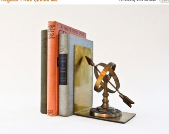ON SALE Sundial Bookends, Brass Armillary bookends, Globe and Arrow Bookends