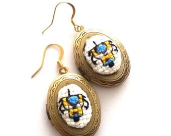 CL4P-TP Claptrap Locket Earrings- xstitch fiber art wearable art Gamer Geek Chic Geekery