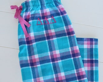 Sorority Monogrammed Flannel Pajama Pants Blue and Pink Pacific Surf Personalized Gift Sale