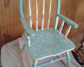 Hand Painted Child's Pastel Colored Rocking Chair