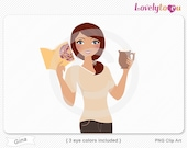 Woman with book and coffee mug, character clipart digital PNG clip art (Gina 632)
