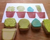 Succulent stamp set, hand carved cactus stamps, handmade rubber stamps, diy card making, 5 stamp set