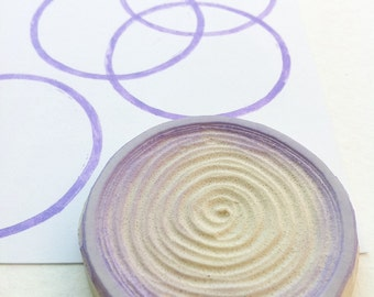 circle hand carved rubber stamp, handmade circle stamp, geometric stamp