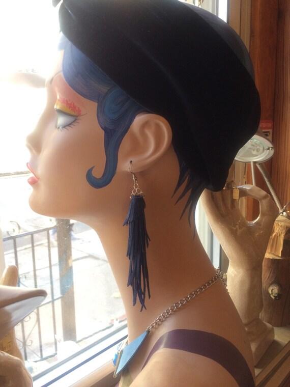 Dark Blue Tassel Fringe Leather Earrings