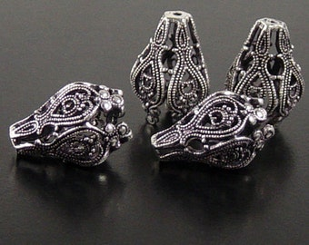 REDUCED Silver Bead Cap 4 Antique Silver Flower Star 5-Point Victorian Filigree 20mm x 15mm (1137cap20s1)xz