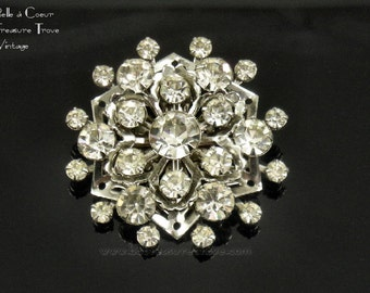 Brilliant Vintage Atomic Snowflake Star Rhinestone Brooch Silvertone Wedding Bridal