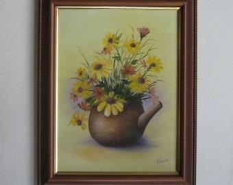 Original Oil Painting Pot of Flowers