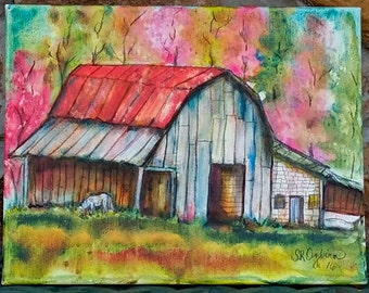 Barn and Pony, ORIGINAL Mixed Media painting, gallery wrap canvas