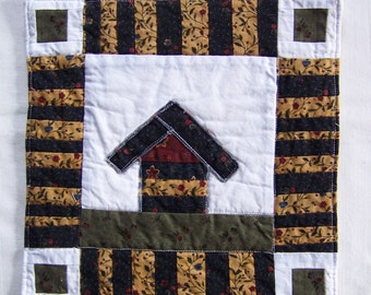 Crazy Town Scrappy Cottage  Mini Quilt  Mug Rug or Coaster #1