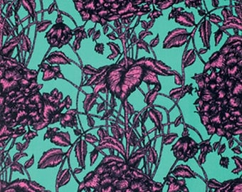 Studio KM Fabric by the Yard - The Garden of Earthly Delights - Fresco in Teal - Quilter's Cotton