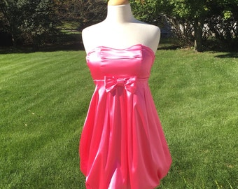 "Vintage 80s Pink Bubble Dress / Cocktail Prom Party / 26"" Waist / Small"