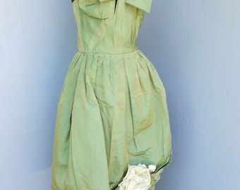 Vintage 50s/60s  Emma Domb of California, Teen Girls, Prom Dress, Party Dress, Spaghetti Strap, Taffeta and Tulle Dress