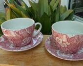 Burleigh Staffordshire England Victorian Chintz 2 Sets Jumbo Cups and Saucers Red Rose