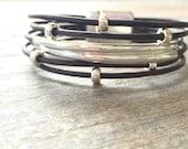 Leather Bracelet/Sterling Silver/Women's Leather Bracelet/Modern Chic/Isea Designs
