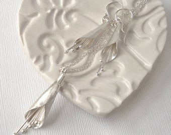 Sterling Silver Long Calla Lily Jewellery Set