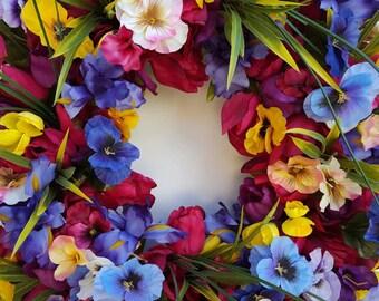 Summer Wreath..Tulip Wreath...Front Door Wreath...Pancies
