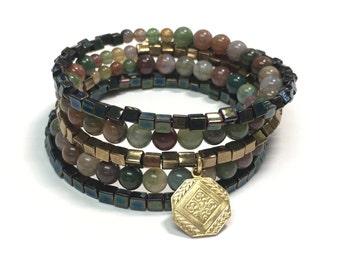 Forest Jasper wrap bracelet