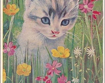 Cat Postcard - Grey  Kitten, Bumble bee Medici English Postcard,  artist Heda Armour, Pk 1355 vintage postcard, SharonFosterVintage