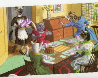 Mainzer Cats vintage postcard - Tea time accident Mainzer dressed cats,  Postcard no. 4916, printed in Belgium , SharonFosterVintage