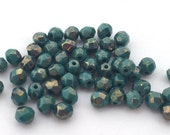50pcs Czech Fire Polish Glass Faceted Round-Persian Turquoise Picasso 4mm (4BT6315)