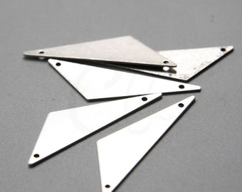 2 Pieces Oxidized Silver Plated Brass Base Triangle Link - 40x12mm (1992C-C-433)