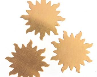 2pcs Brass Metal Blank-Stamp on - Metal stamping - Sun 32mm (210301)